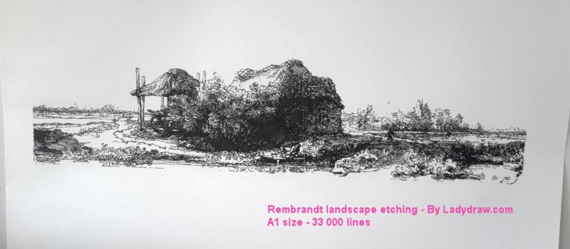 [RENDER] Rembrandt landscape etching – 33 000 lines
